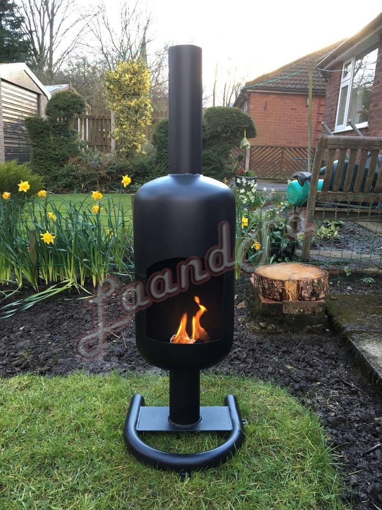 Large 19kg Gas Bottle Log Wood Burner Chimenea With A Stand Outdoor Patio Heater In Garden Amp Patio Barbecu Patio Heater Gas Bottle Wood Burner Wood Burner