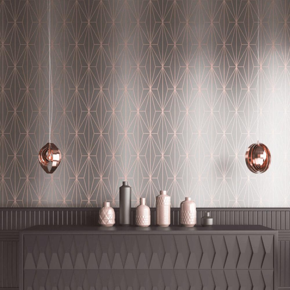 Muriva Kayla Grey Rose Gold Geo Wallpaper 703013 in 2020