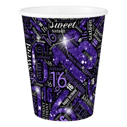 Sweet Sixteen Sparkle Word Cloud Purple ID265 Paper Cup - decor gifts diy home & living cyo giftidea