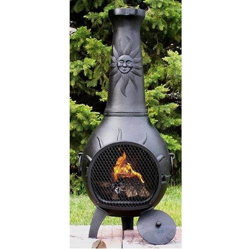 High Quality Blue Rooster Sun Stack Cast Aluminum Gas Chiminea