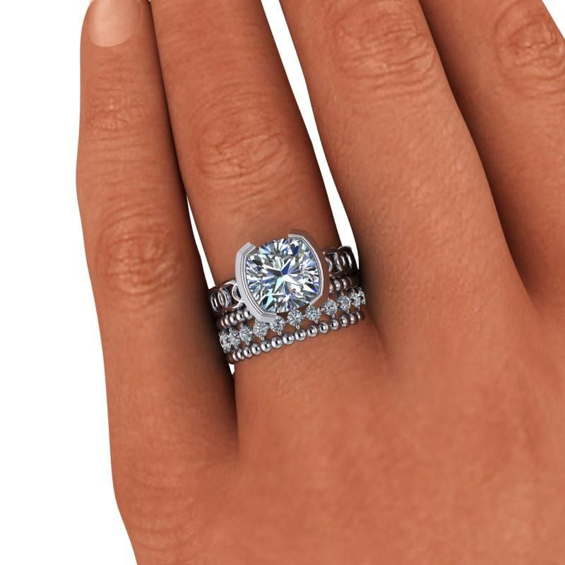 Cushion Cut Engagement Ring And Stacking Wedding Bands Insieme Bridal Stackables