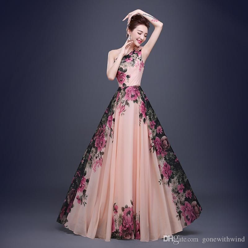 2016 new arrival long flora bridesmaid/prom dresses for wedding ...