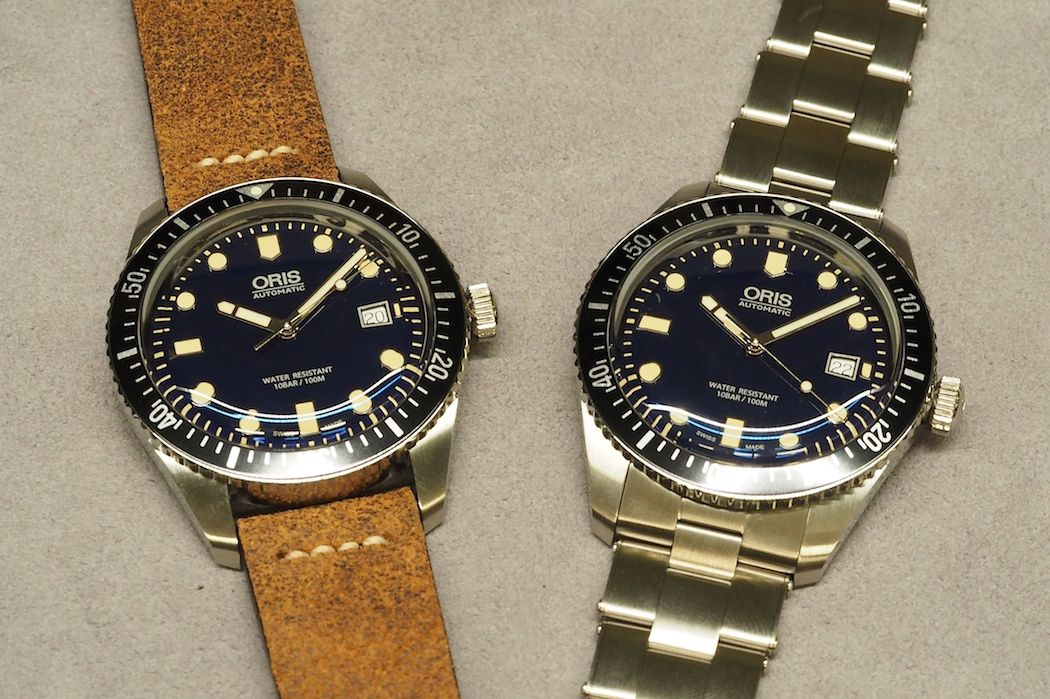 A View Of Both The Leather Strap And Riveted Steel Bracelet On Oris Divers Sixty Five Are Excellent