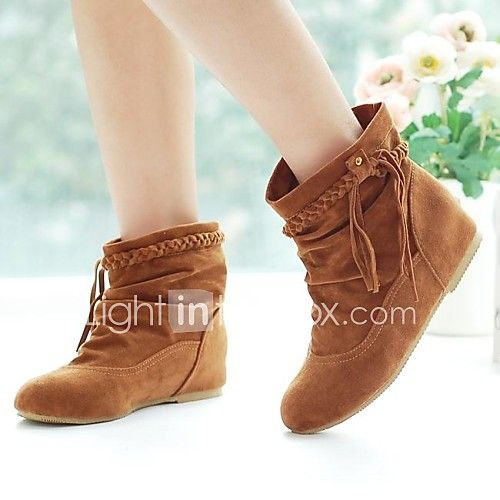 Women S Shoes Leatherette Fall Winter Flat Heel Mid Calf Boots For Casual Office Career Dress Black Brown Beige Yellow
