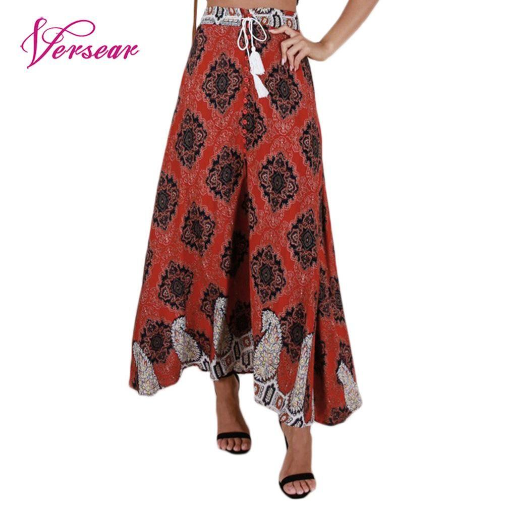 4e2336c9d61 Find More Skirts Information about Versear Vintage Women Tassel Print Long  Skirt Elastic High Waist Button Lace Up Boho Summer Beach Maxi Skirt 2018  Women s ...