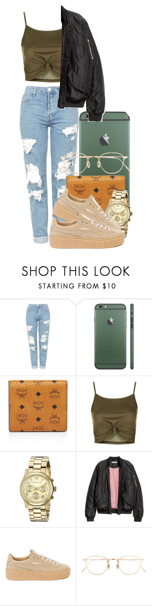 """""""-✨👅🍃"""" by shellyzz ❤ liked on Polyvore featuring Topshop, MCM, Michael Kors, H&M, Puma and Eyevan 7285"""