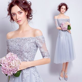 Lilac off the shoulder prom dress