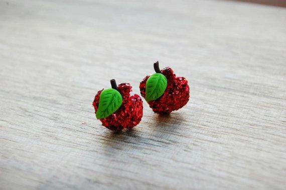 Snow White Glitter Apple Stud Earrings by PetiteFleurShoppe, £4.50