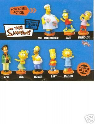 The SIMPSONS BODY BOBBLES Tomy COMPLETE MINT SET of MIB FIGURES oop