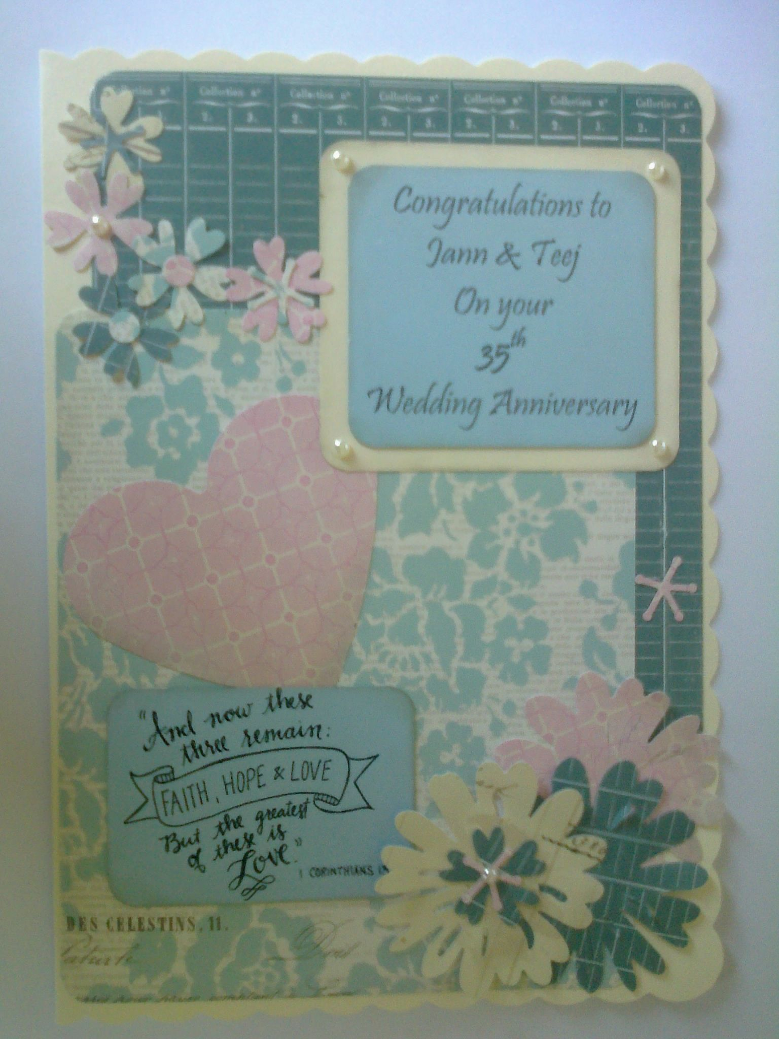 35th wedding anniversary card scripture verse from i