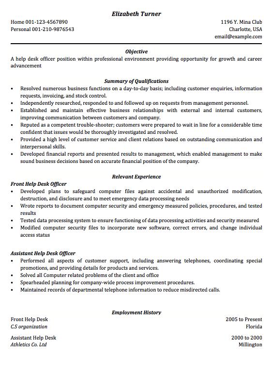Help Desk Resume Sample Help Desk Resume A Resume For Application