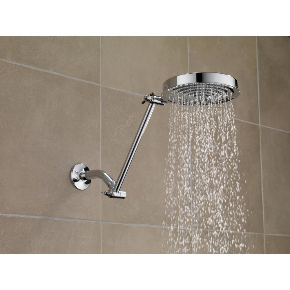 Delta 1 Spray 2 5 Gpm Adjustable Arm Raincan Shower Head In Chrome Shower Head Extension Adjustable Shower Arm Shower Heads