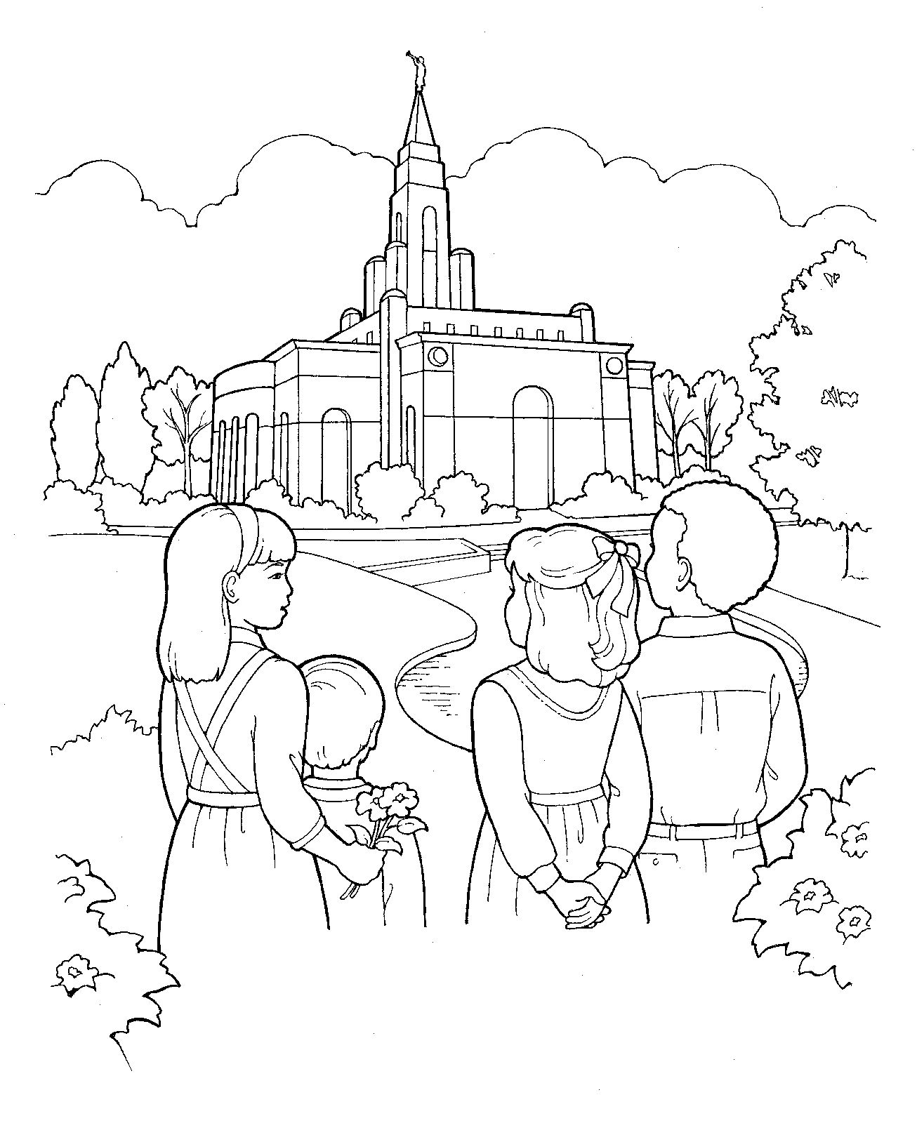 Children Visit The Temple LDS Primary Coloring Page