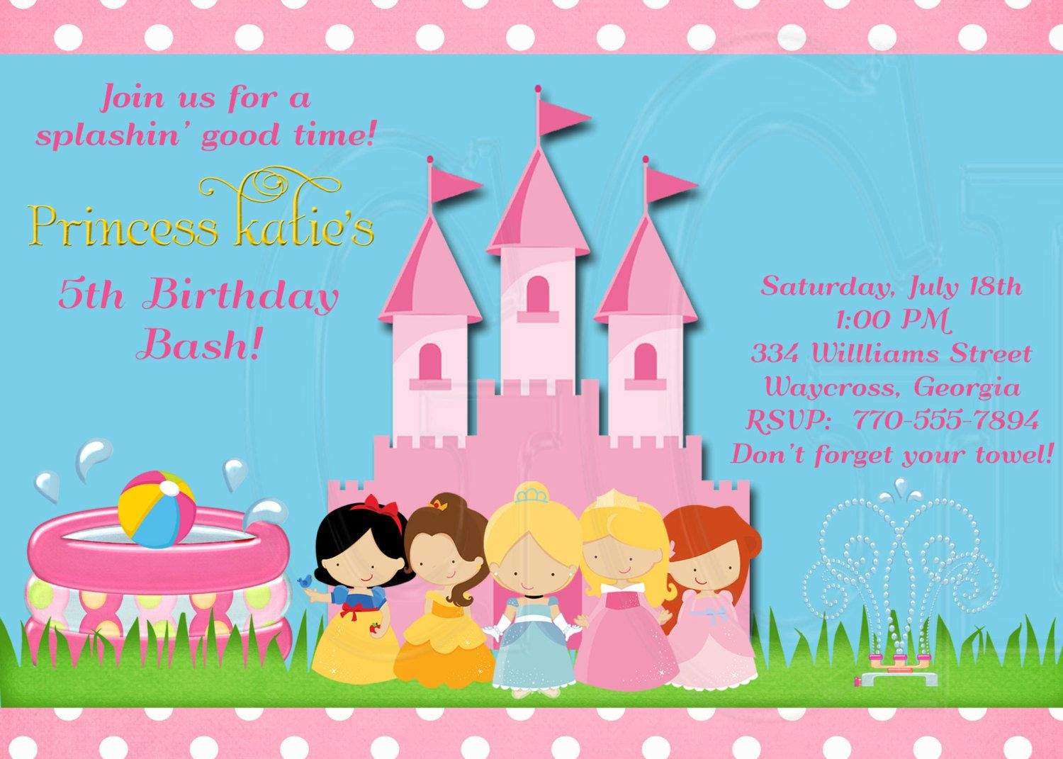 Best 25 Princess pool parties ideas – Princess Tiana Party Invitations