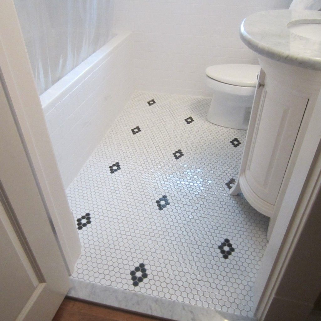 Diamond pattern with hex tile bath rustic craftsman pinterest hexagon floor tile dailygadgetfo Image collections
