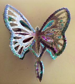 Start of purple side on filigree butterfly