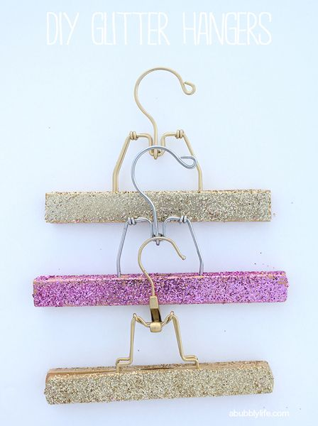 DIY glitter hangers from A Bubbly Life