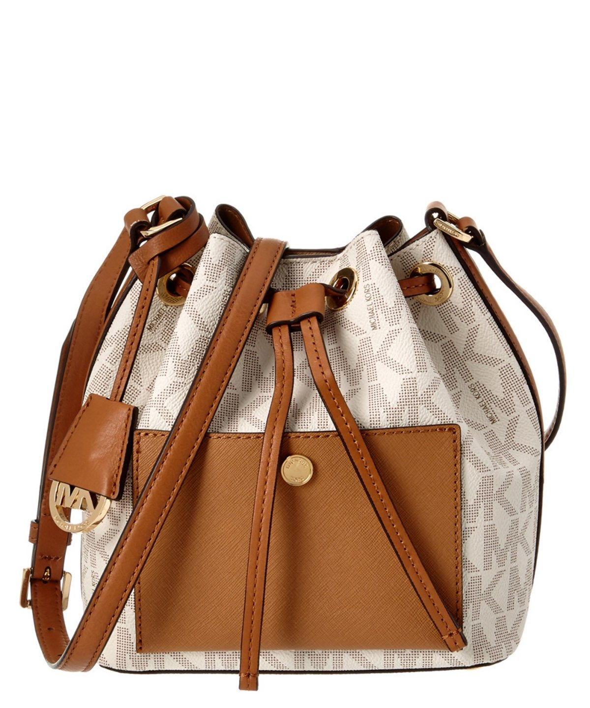 0e14c4175a1a MICHAEL MICHAEL KORS MICHAEL MICHAEL KORS GREENWICH SMALL LEATHER BUCKET BAG .   michaelmichaelkors  bags  shoulder bags  leather  bucket  lining
