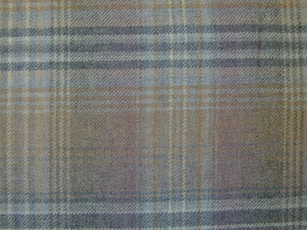 Curtain Fabric Wool Tartan Mauve Grey Check Plaid Tweed Upholstery