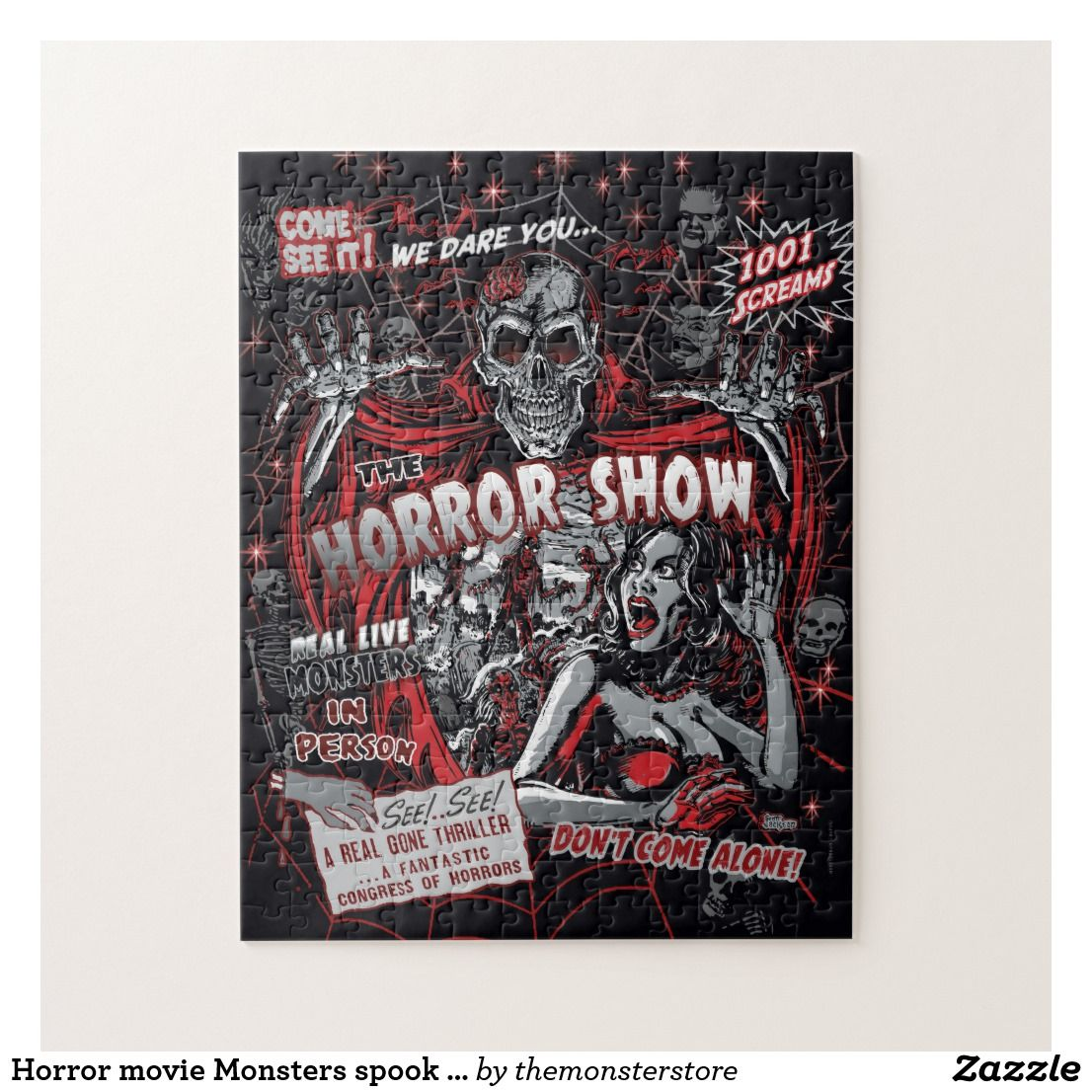Horror movie monsters spook show jigsaw puzzle zazzle