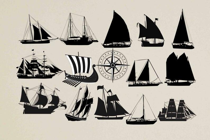 Sailboat Silhouette Sailing Clipart Nautical Clipart Etsy Nautical Clipart Sailboat Clip Art