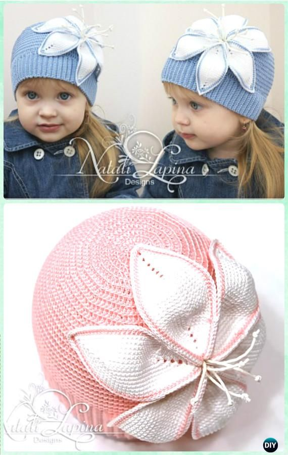 Crochet Lily Flower Hat Free Pattern- Crochet Girls Flower Hat Free ...