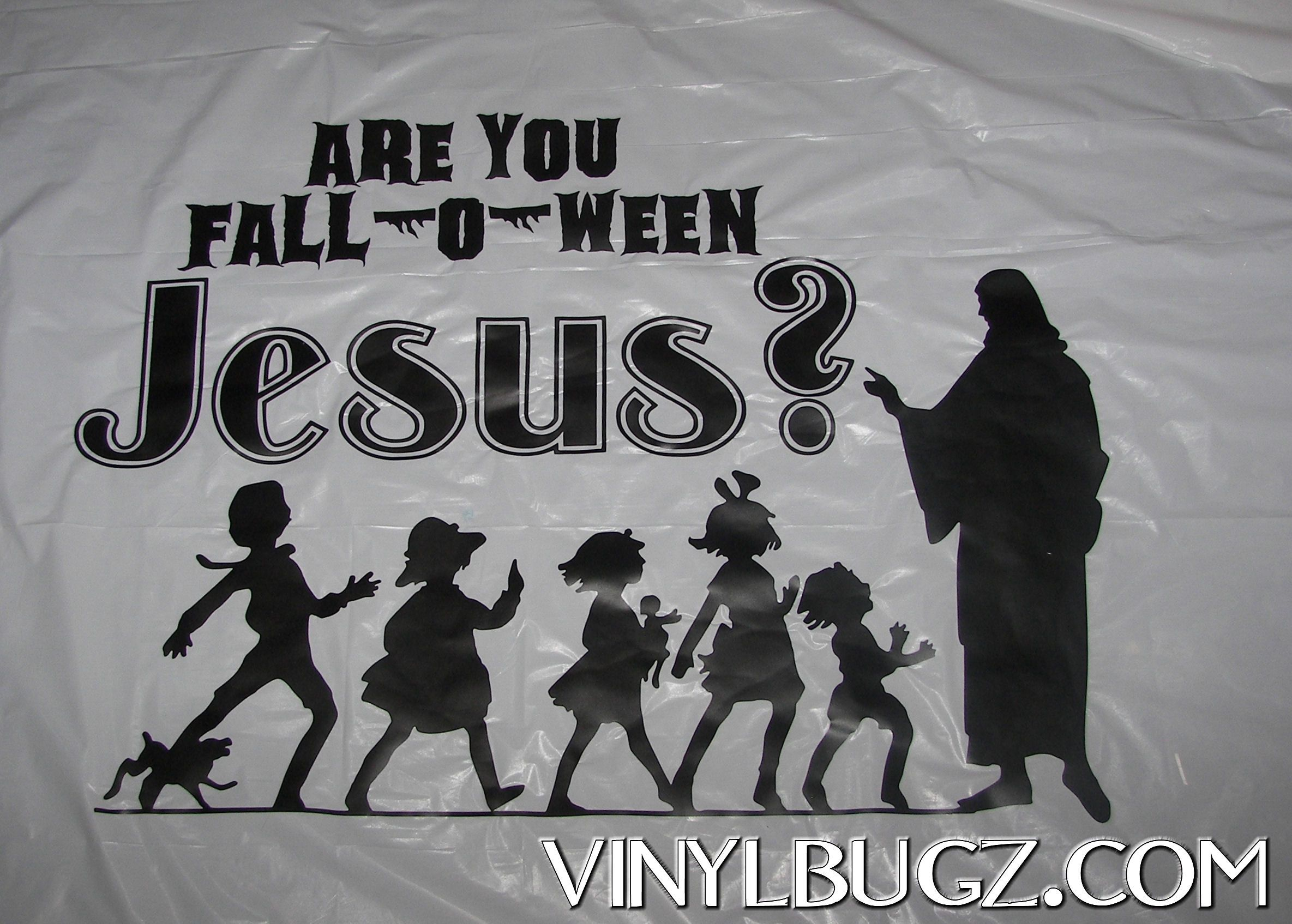 are you fall o ween jesus banner made for church trunk 0r - Christian Halloween Stories