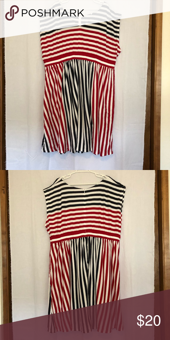 Plus Size Eshakti Red White and Blue Stripe Dress Soft and ...
