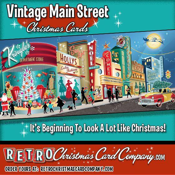 Vintage Main Street Retro Christmas Cards \u2013 It\u0027s Christmastime in