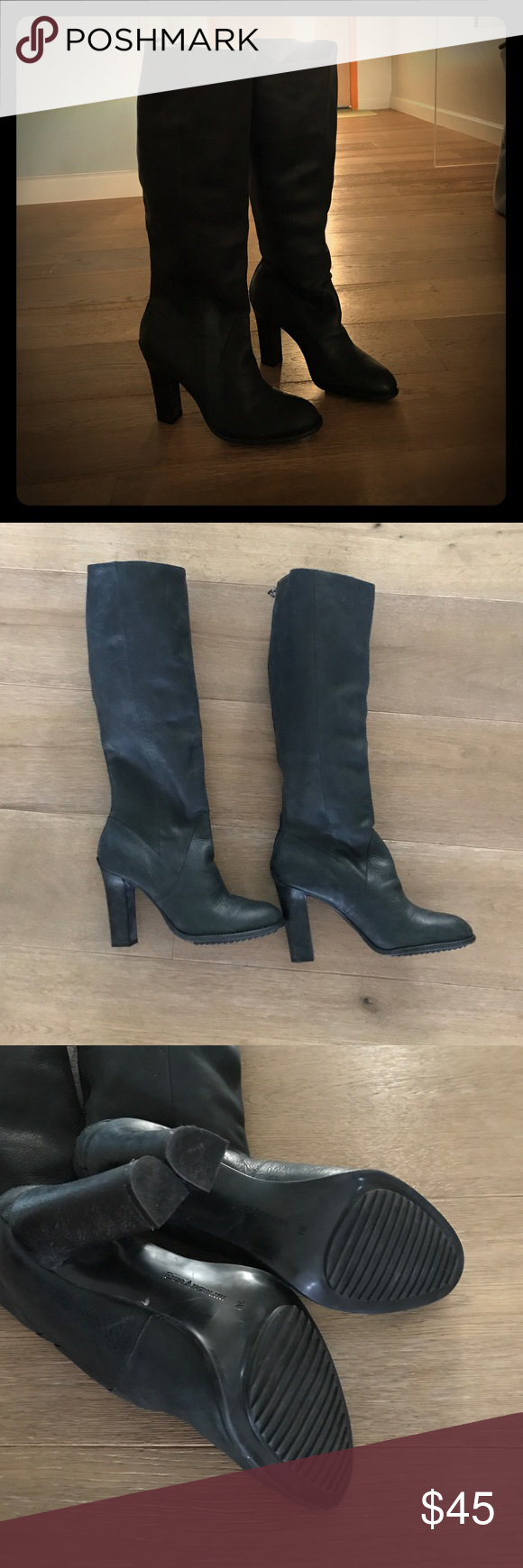 Enzo Angioloni Karissa Black Leather Boots 9M Like New Enzo Angioloni Karissa Black Leather Boots 9M. Only worn 1 time.  Black color. Leather heel height: 4 inches. Shaft: 16 inches circumference.  Boot opening 15.5 inches around. Sits right below the knee. Enzo Angiolini Shoes Heeled Boots