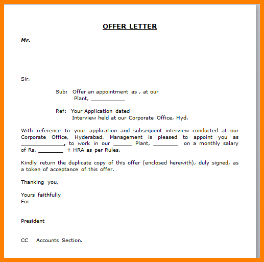 Job Offer Letter Format Word Xcb Xejob Appointment Free Pdf