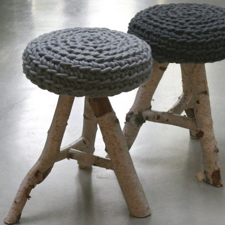 Stool Birch By Le Souk Furniture. Made From Birch Tree Stems And Thick Pure  Wool