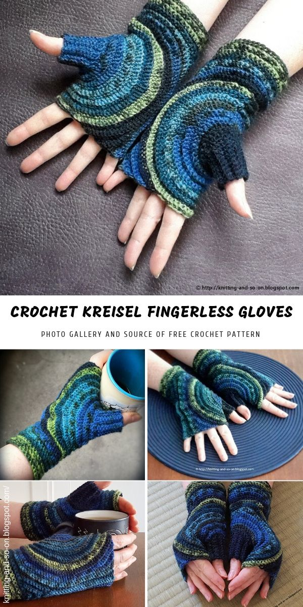 Kreisel Fingerless Crochet Gloves #gloves