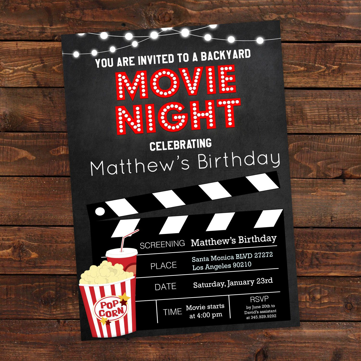 Printable Backyard Movie Night Party Invitation | Movie Night ...