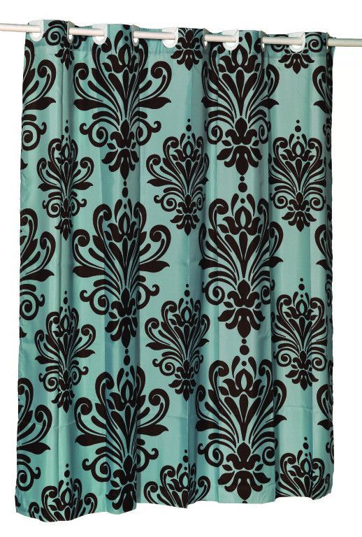 EZ On French Inspired Motif Fabric Shower Curtain Chocolate Brown Spa Blue