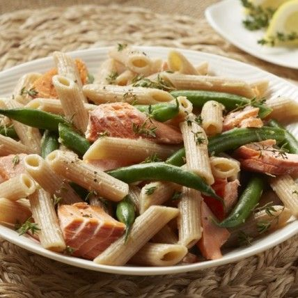 Alaska Salmon Penne with Green Beans and Vinaigrette