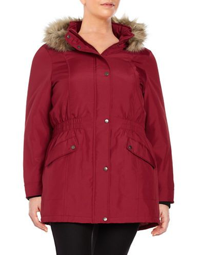 Junarose Plus Expedition Faux Fur-Trimmed Parka Women's Red 3X