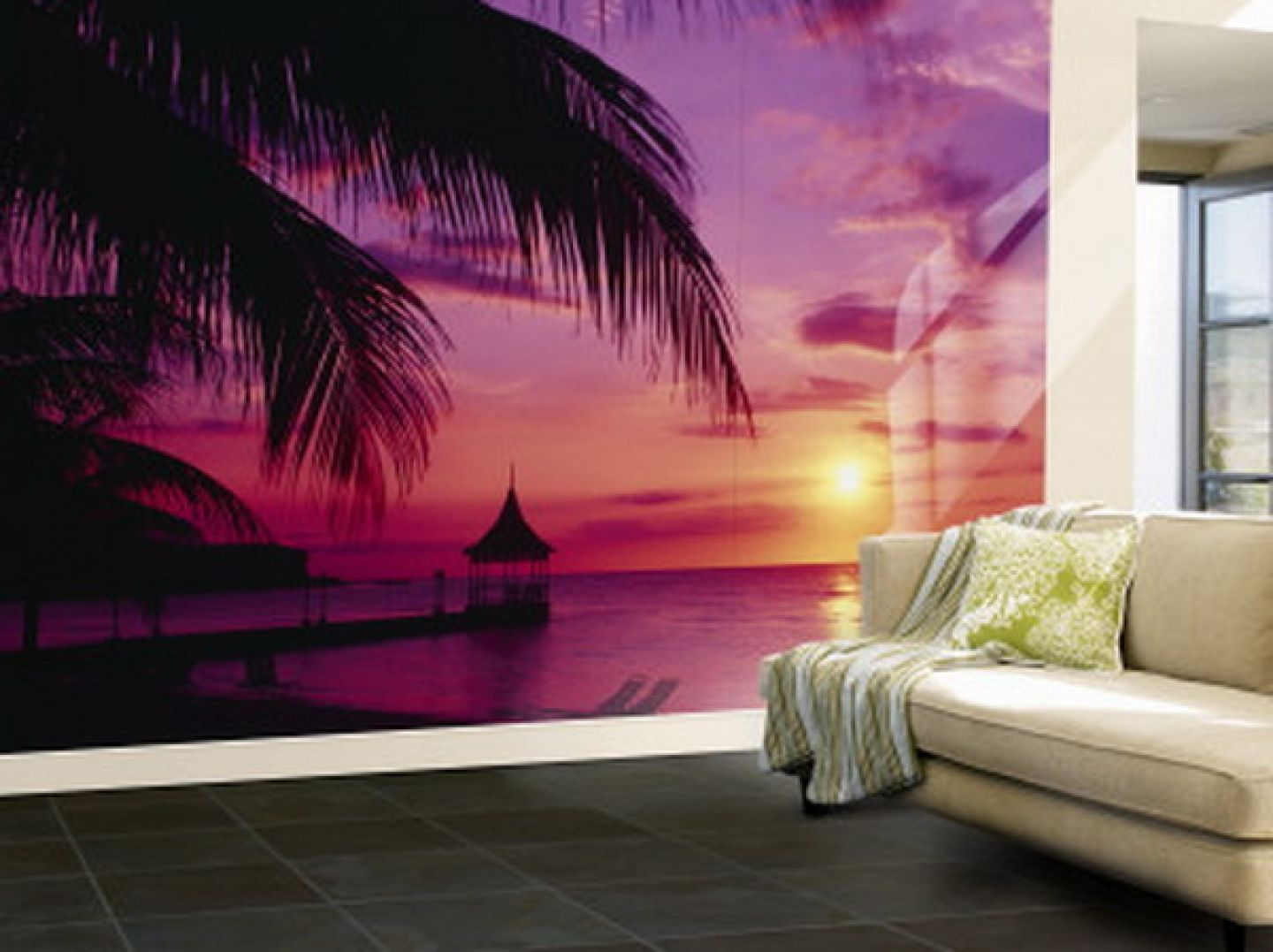 Purple living room wall murals purple ocean wallpaper for Beach mural bedroom