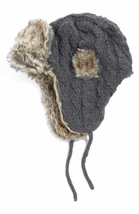 72df4b8b68b Nirvanna Designs Cable Knit Ear Flap Hat with Faux Fur Trim