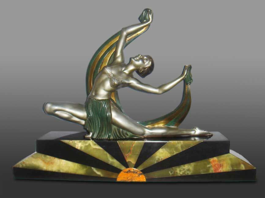 French bronze sculpture, Oriental Dancer, circa 1920, by J. Lormier.