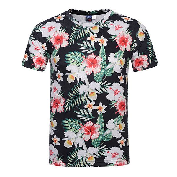 Mens Shirts Floral Tops Tee Classic Short Sleeve  T-Shirt Summer Casual Cotton