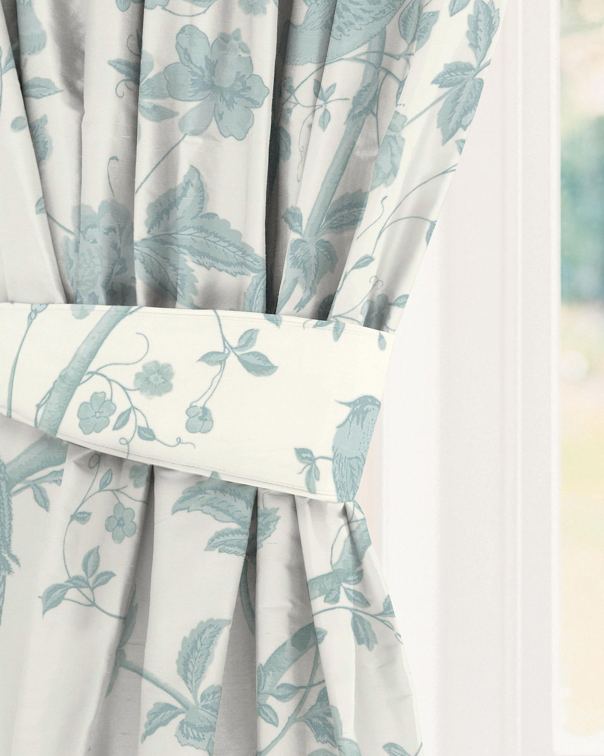 Made to measure curtains in Summer Palace Off White/ Duck Egg ...