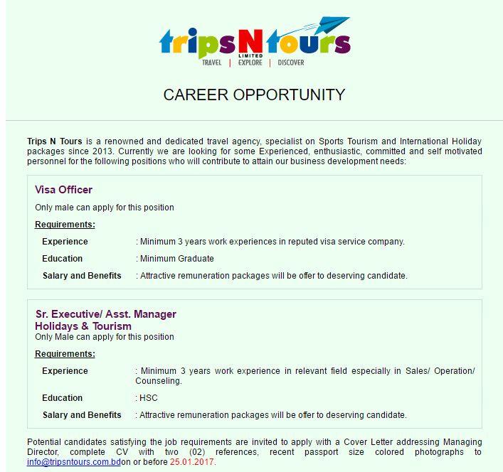 Trips N Tours Visa Officer Job Circular in Bangladesh VACANCY - managing director job description