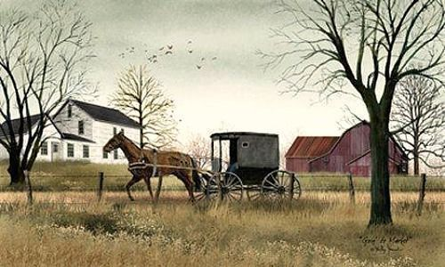 New Country Primitive Barn Farm Amish Horse Buggy Picture