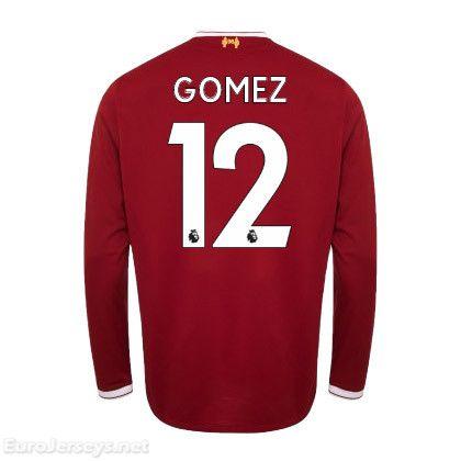 92bcd122a90 Eurojerseys.net Liverpool 2017-18 Home Gomez 12 Long Sleeved Football Shirt  Soccer Jersey maillot de foot
