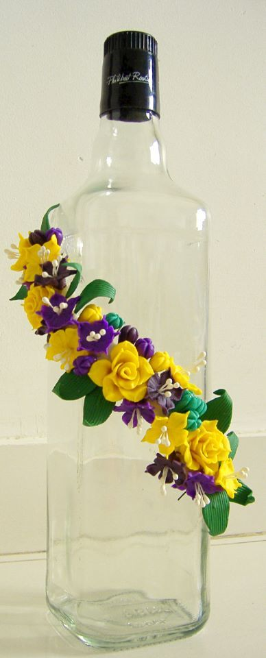 Bottle Decorated With Italian Dough Flowers Bottle Art