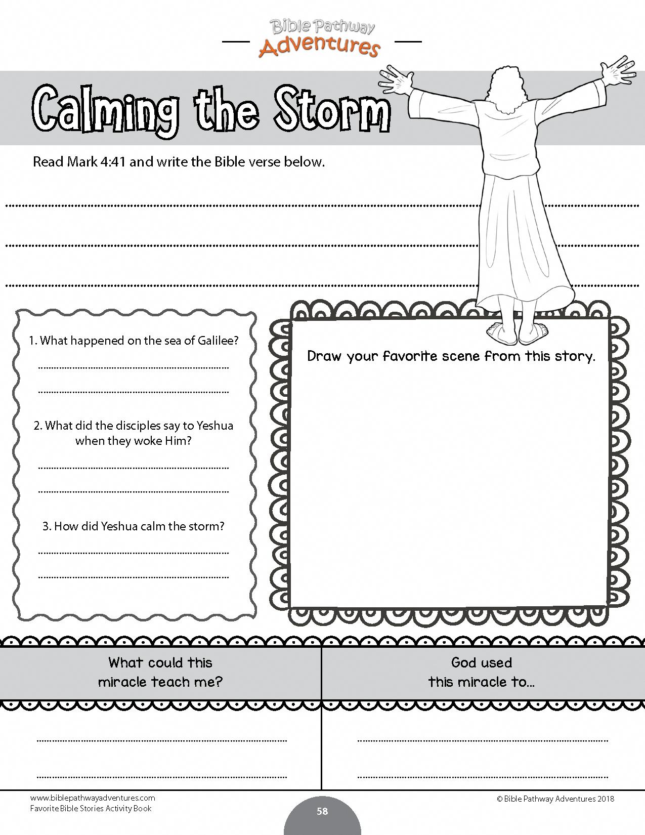 Calming The Storm Bible Worksheet