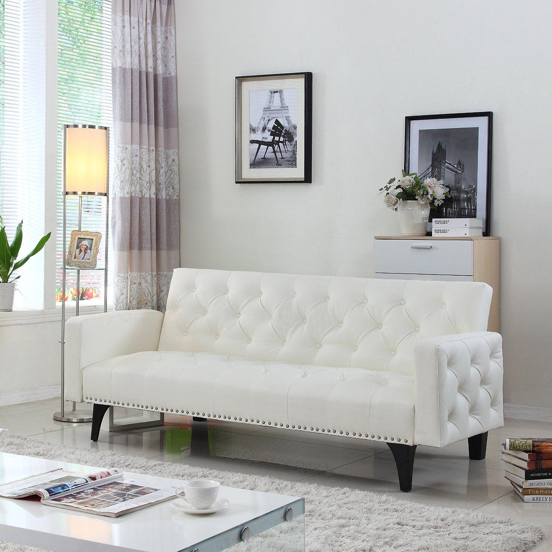 Super Amazon Com Modern Tufted Bonded Leather Sleeper Futon Sofa Forskolin Free Trial Chair Design Images Forskolin Free Trialorg