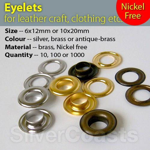 Eyelets 4 6 10mm Solid brass Nickel Free Leather Craft Sewing Clothing Grommet