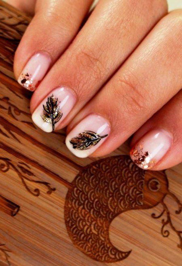 Nice Simple Nail Art Leaves Festooning - Nail Art Ideas - morihati.com